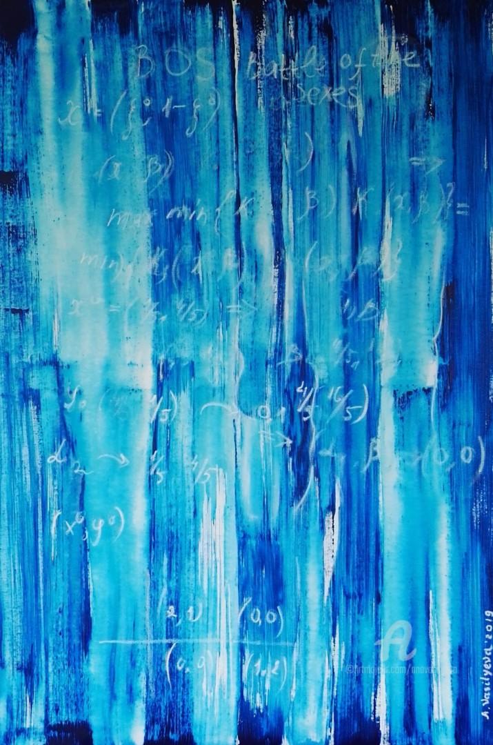 "Anastasia Vasilyeva - ""The battle of the sexes"", large blue canvas"