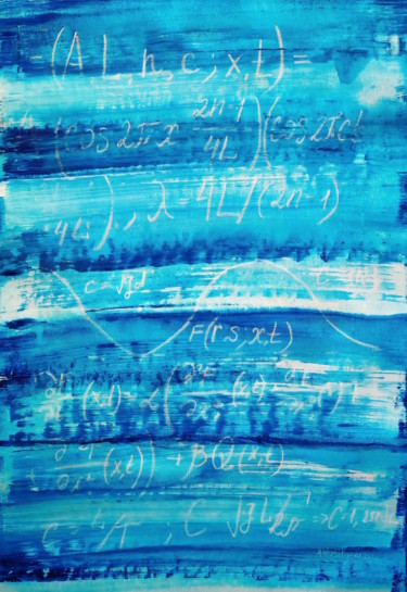 """Wave theory 002"", unmounted canvas, blue conceptual paintin"