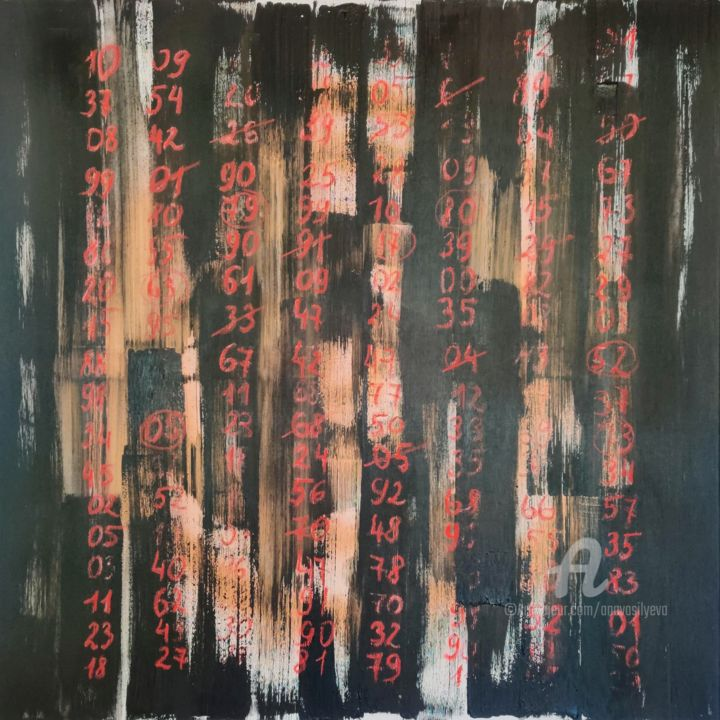 Anastasia Vasilyeva - Abstract painting with red numbers
